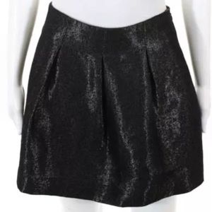Theory Liddy metallic wool blend pleat mini skirt
